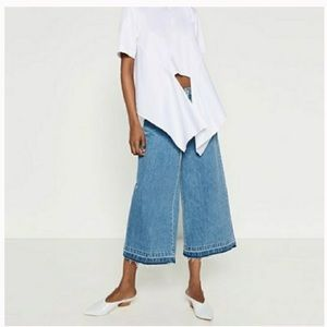 ZARA wide leg denim culotte jeans